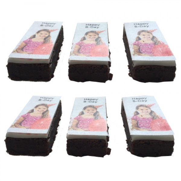 3 x Brownie Sckoko mit Foto 9 x 4 cm